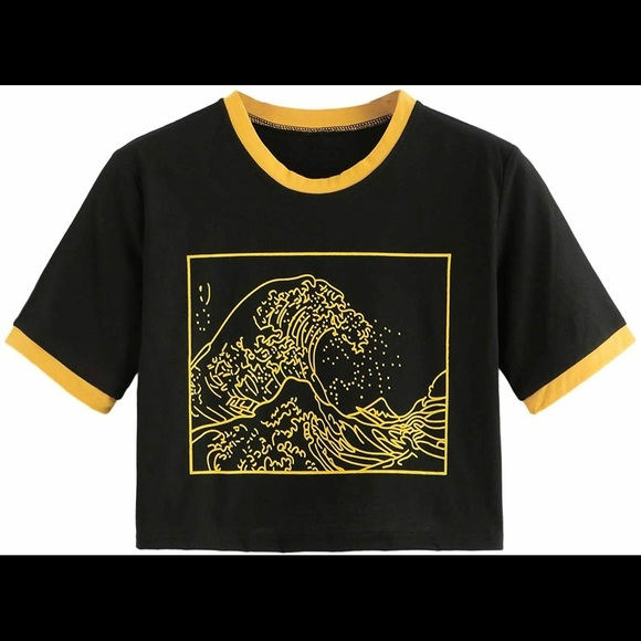 The Great Wave Yellow & Black Crop Top Tshirt